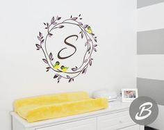Name Nursery Wall Decal Custom Monogram Wall Decals Personalized - Monogram wall decal for nursery