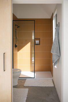 The Nooq Falcon Glass Tile Bathroom Fireclay Tile - - bathroom Falcon Fireclay glass Nooq Tile Glass Tile Bathroom, Modern Bathroom, Small Bathroom, 1920s Bathroom, Tile Bathrooms, Colorful Bathroom, Master Bathroom, Glass Tiles, Bathroom Tile Colors