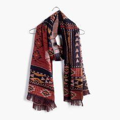 """Supercozy and textural, this bold jacquard scarf was inspired by an antique Moroccan rug. <ul><li>Cotton/wool.</li><li>78 3/4""""L x 23 5/8""""W.</li><li>Dry clean.</li><li>Import.</li></ul>"""