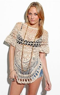 For every great bathing suit, you need a great cover up....I love this crochet style