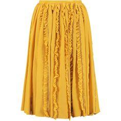 Rochas Ruffled silk skirt ($580) ❤ liked on Polyvore featuring skirts, mustard, yellow knee length skirt, silk skirt, flouncy skirt, flounce skirt and ruffle skirt