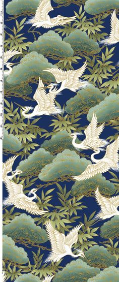 Fat Quarter Serene Japanese Cranes Indigo Cotton Quilting Fabric - Kona Bay