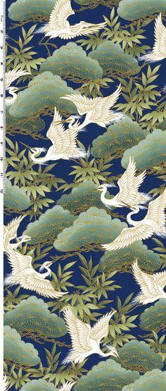 Fat Quarter Serene Japanese Cranes Indigo Cotton Quilting Fabric - Kona Bay