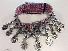 Traditional Moroccan Tribal Fabric & Khamsa Lucky Hand Charms Bracelet Velcro H #Fez