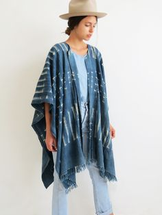 Light Indigo Poncho // Vintage African Mudcloth Open Poncho SOLD