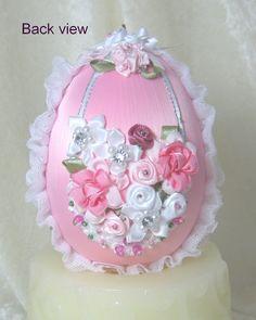 EL101 Pink Floral Egg Ornament by WhiteHawkOriginals on Etsy