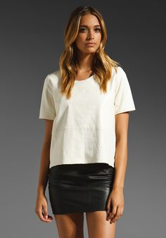MASON BY MICHELLE MASON Leather Front Tee in Ivory - Mason by Michelle Mason