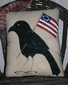 My newest crow and flag pillow for primitive Americana decorating by auntimeaowsatticprims