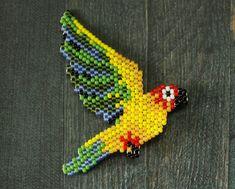 Beaded brooch Wild bird brooch Handmade parrot badge jewelry | Etsy