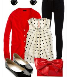 White poca dots red sweater and black pants