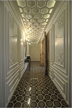 A hallway of honeycomb floor tiles mirrors a similar pattern on the ceiling at the The House Hotel Galatasaray, Istanbul. like the ceiling Ceiling Detail, Ceiling Design, Ceiling Ideas, Interior Exterior, Interior Design, Architecture Design, Interior Inspiration, Design Inspiration, Design Ideas