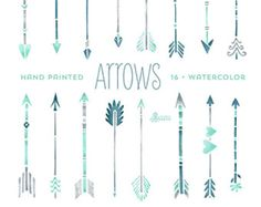 Mint Hand painted Arrows Watercolour 16 Clipart. Tribal, native diy elements, invitation, watercolor, transparent, grey, hires, boho style