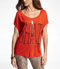 DOLMAN GRAPHIC TEE - SHINE   (Outfit Number 1)  #ExpressJeans