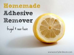 How to make your own homemade adhesive remover using just 2 natural ingredients. This little DIY recipe is simple, quick and frugal, not to mention that it smells heavenly! Works on glass, plastic and other hard surfaces and removes tape, stickers, glue and more.