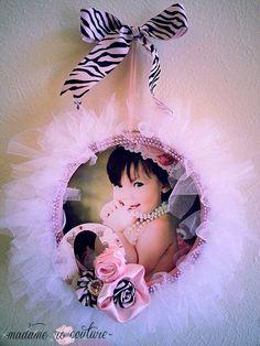 Items similar to Tutu Wreath Frame~ nursery decor, toddler, infant, newborn, baby shower gift on Etsy Tutu Wreath, Diy Wreath, Wreaths, Baby Crafts, Diy And Crafts, Baby Kranz, Tulle Crafts, Ballerina Birthday, Frame Wreath