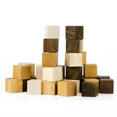 Wooden Blocks Our classic wooden block set is the perfect set of first blocks or to bring some beautiful nature into a toy collection. This set includes 24, 1.5 square blocks. This listing does NOT include any engraved blocks. We use the highest quality North American Hard Maple