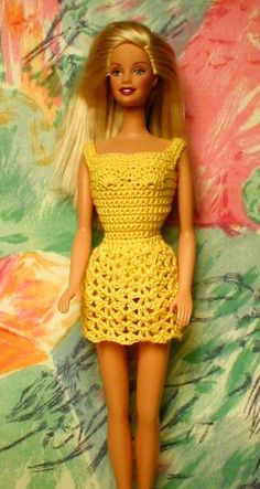 Barbie Crochet: Yellow Dress, Free Pattern