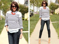 Chambray, Orange accessories, Breton Stripe, St. James, Rag and Bone Jeans, Payless Shoes, Lela Rose for Payless, Jessica Quirk, Outfit Blog, Style Blog,