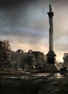 James Chadderton   Apocalype style digital imagery   Trafalgar Square, London