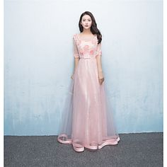 Formal+Evening+Dress+-+Lace-up+A-line+Jewel+Floor-length+Tulle+with+Appliques+–+USD+$+116.99