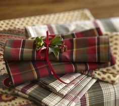 Pottery Barn Linen Napkins | Carson Plaid Napkins - traditional - table linens - by Pottery Barn