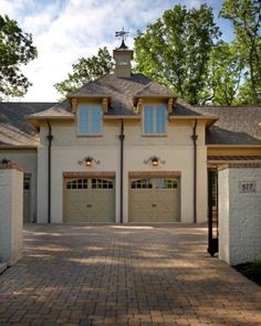 Stone Driveway up to Carriage House Garage Doors