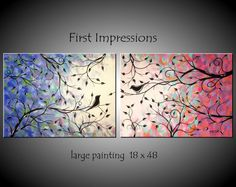 Large Abstract Birds in Tree Painting by jmichaelpaintings on Etsy, $99.00