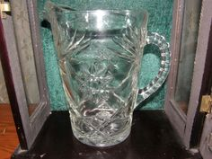 Vintage Pitcher Star of David Pressed Glass Estate Piece $22.00