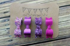 Glitter bows clips or headbands Purple and by muffintopsandtutus