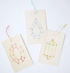 Embroidered Gemstone Wood DIY Christmas Ornaments | Fun and easy enough DIY ornaments for the kids to make.