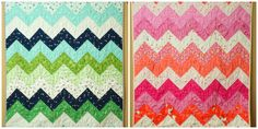 a quilt is nice: Zig Zag Quilt kit tutorial (This tutorial is for a kit available in my etsy shop . inspired by this quilt.)   posted by Nettie This quilt is made up entirely of half square triangle blocks, arranged into a zigzag pattern. EAch 5 inch square will be paired up with another 5 inch square...the pair will become 2 identical half square triangles.  Each row is made up of 5 pairs, which will become 10 half square triangles.  You will have 12 rows.