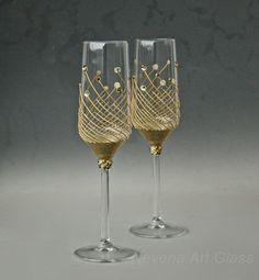 Champagne Flutes Wedding Glasses Gold Swarovski by NevenaArtGlass
