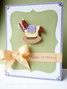 Stampin up punch artThe Stampin' Bean: A Rockin' Birthday. Paper Punch Art, Punch Art Cards, Baby Shower Cards, Baby Cards, Baby Scrapbook, Scrapbook Cards, Scrapbooking, Card Tags, Cool Cards