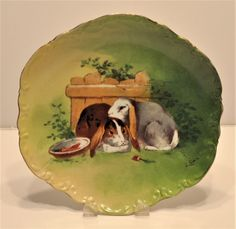 Antique French Limoges Porcelain Lop Eared Bunny Rabbit  Easter Plate  Signed