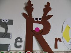 R from reindeer Reindeer, Activities For Kids, Clock, Christmas, Crafts, Home Decor, Xmas, Full Bed Loft, 1st Grades