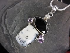 Dendritic Agate, Onyx, Amethyst, and Pearl Sterling Silver Necklace