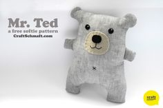 Mr. Ted Softie Plush Tutorial | body is one piece (no arms or ears to pin in place) so it's pretty easy! #free #tutorial