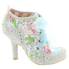 NEW IRREGULAR CHOICE *ABIGAILS THIRD PARTY* BLUE MULTI LACE SHOE BOOTS - in Clothes, Shoes & Accessories, Women's Shoes, Heels