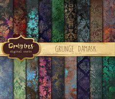 Grunge Damask Digital Paper, dark distressed grungy Gothic Victorian backgrounds, printable scrapbook paper, floral royal damask download