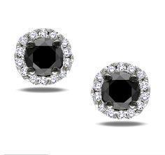 Black and diamond earrings