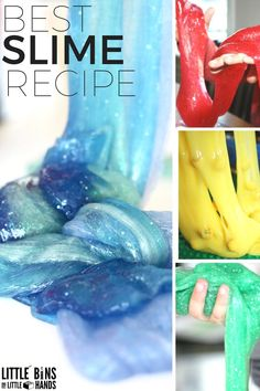 How to make liquid starch slime with kids! Make slime with kids at home or in the classroom. making slime is science and sensory play in one activity. Homemade slime anytime!
