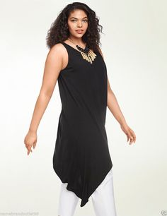 NEW 118.00 Asymmetric tunic dress by Isabel Toledo for  Lane Bryant black #LaneBryant #AsitunicdressBlouseblack #EveningOccasionLength3054hilovariation
