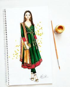 Traditional angrakha style with brocade and golden embellishments - why not! Dress Design Drawing, Dress Design Sketches, Fashion Design Sketchbook, Fashion Design Drawings, Dress Drawing, Fashion Sketches, Moda Fashion, Fashion Art, Indian Fashion