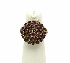 ♥GORGEOUS 14K ROSE GOLD & RUBIES LADIES ORNATE DOMED HAREM BAND RING $475