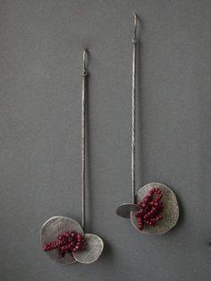 pendientes con cuentas pendientes de plata largos por jaimejofisher
