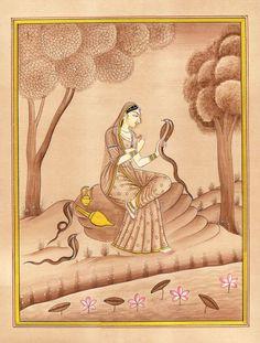 Asavari Ragini Miniature Painting Indian Rajasthani Ethnic Handmade Ragamala Art