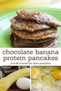Chocolate Banana Protein Pancakes - Slender Kitchen The perfect excuse to eat chocolate for breakfast with these Chocolate Banana Protein Pancakes wit. Healthy Recipes, Clean Recipes, Healthy Snacks, Cooking Recipes, Protein Recipes, Ww Recipes, Diabetic Recipes, Chocolate Protein Pancakes, Protein Powder Pancakes