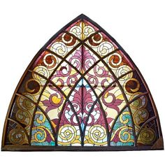 Large Arched Victorian Stained Glass Window ($8,125) ❤ liked on Polyvore featuring home, home decor, colorful home decor, victorian home decor, windows stained glass and victorian stained glass