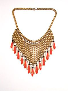Miriam Haskell Early Red Glass Pearl Fringe Bib Necklace