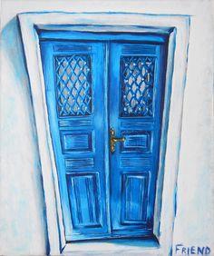 Door in Santorini Greece acrylic painting. www.danfriendesign.com or https://www.etsy.com/au/shop/danfriendesign